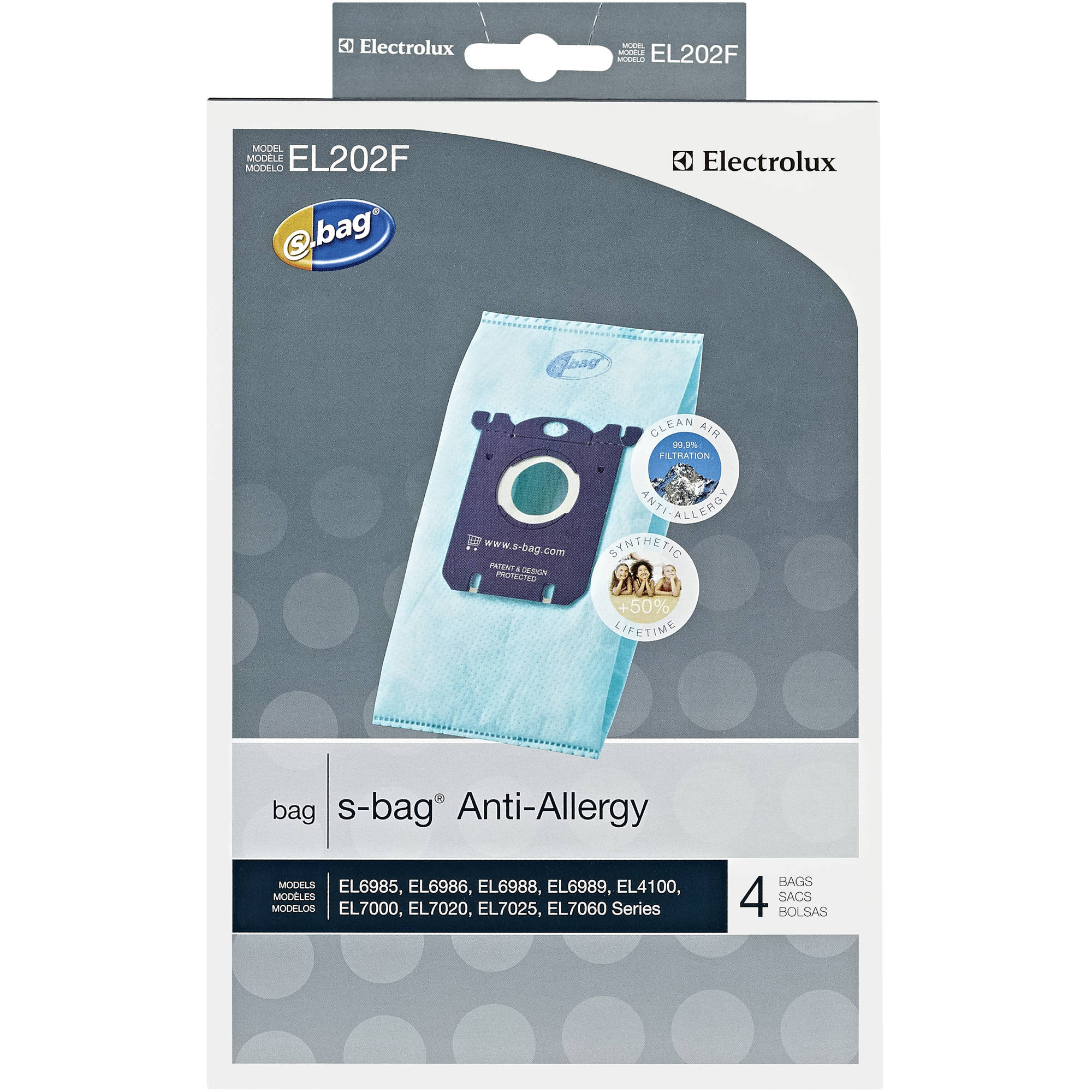 Electrolux S-Bag Anti-Allergy Synthetic Vacuum Bags, Pack of 4