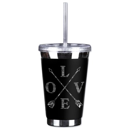 Mugzie Sweat Proof 16-Ounce To Go Tumbler with Insulated Wetsuit Cover - Love - Arrow Suit