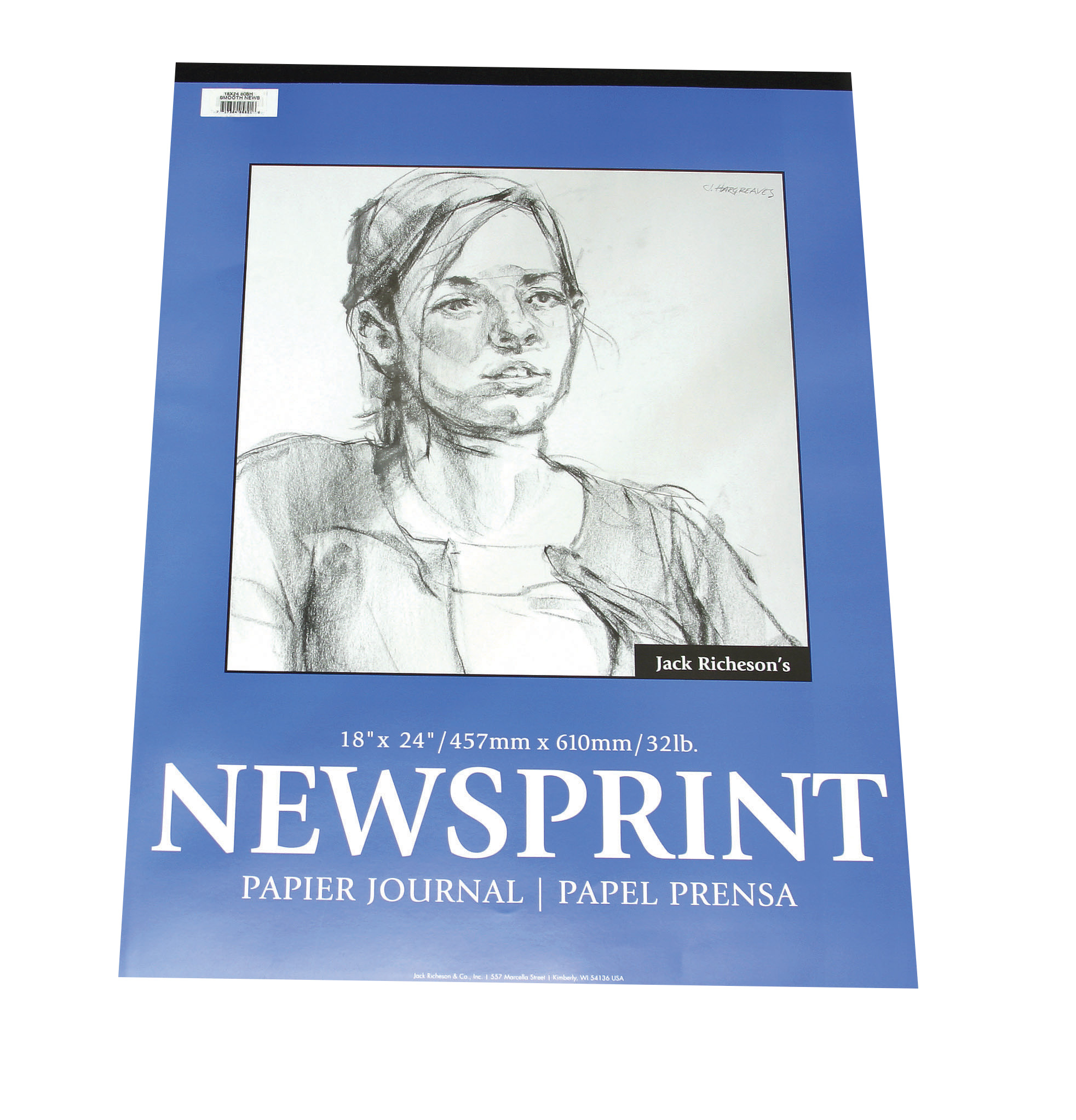 Jack Richeson Rough Newsprint Pad, 32 lb, 18 x 24 in, 50 Sheets