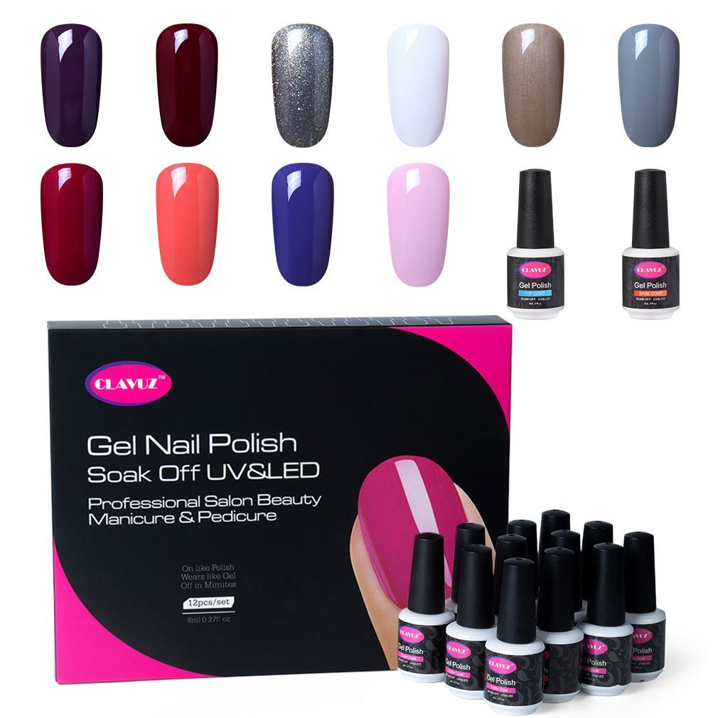 CLAVUZ Gel Nail Polish Set 12PCS Soak Off UV Gel Nail Lacquer with Top and Base Coat Nail Art New Starter Kit 8ML