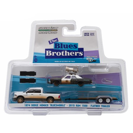 "Hitch & Tow: 2015 Ram 1500 and 1974  Dodge Monaco ""Bluesmobile"" with Flatbed Trailer 1/64 Scale"