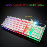 matoen Colorful Crack LED Illuminated Backlit USB Wired PC Rainbow Gaming Keyboard