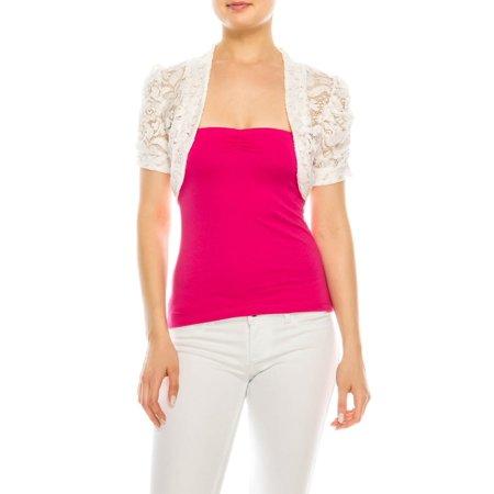 Lace Bolero - Salt Tree Women's Fashion Magazine Floral Lace Ruched Short Sleeve Shrug