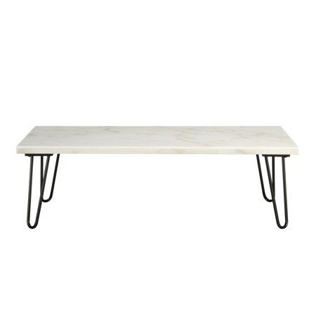 ACME Telestis Rectangular Marble Top Coffee Table in Marble and Black