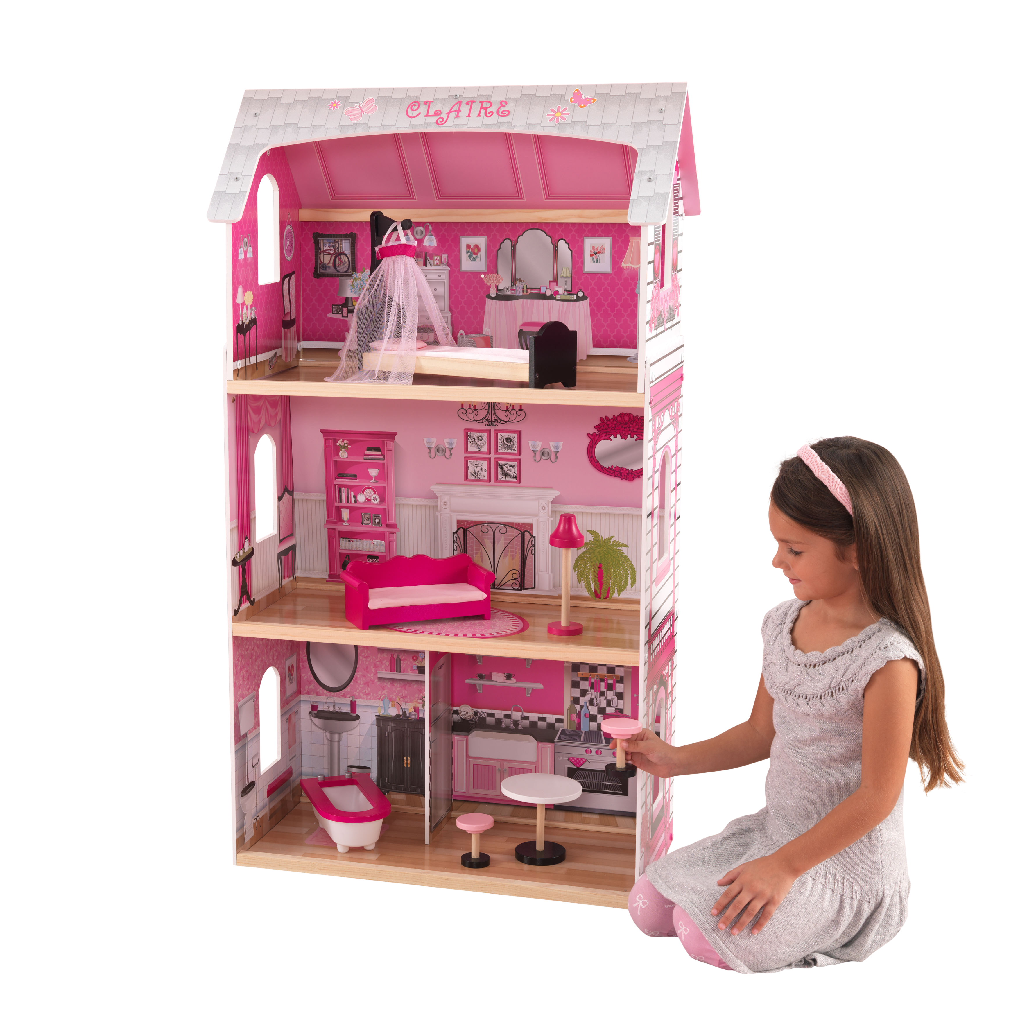 KidKraft Bonita Rosa Dollhouse with 6 accessories included by KidKraft