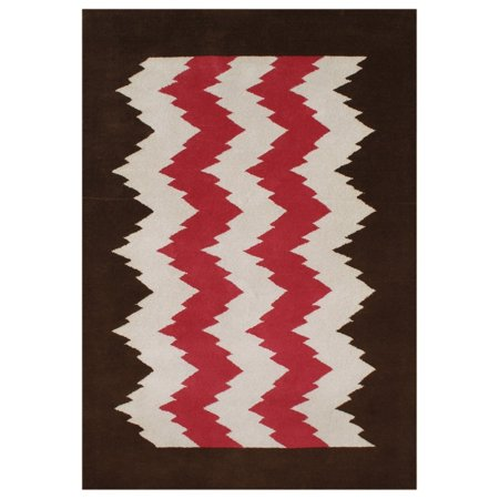 - Alliyah Rugs Handmade Alliyah Biscon Dark Brown New Zealand Blend Wool Rug - 5' x 8'