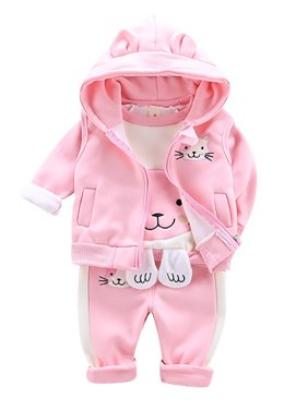 Fysho Autumn Baby Girl Long Sleeve Cartoon T-shirt+ Hoodie Vest Sweatshirt+Trousers Casual Outfits