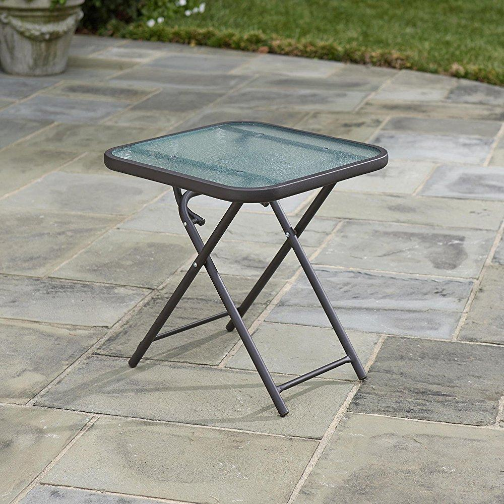 ... Folding Patio Side Table Brown 18 Powder Coated Steel Outdoor Square  Foldable Table