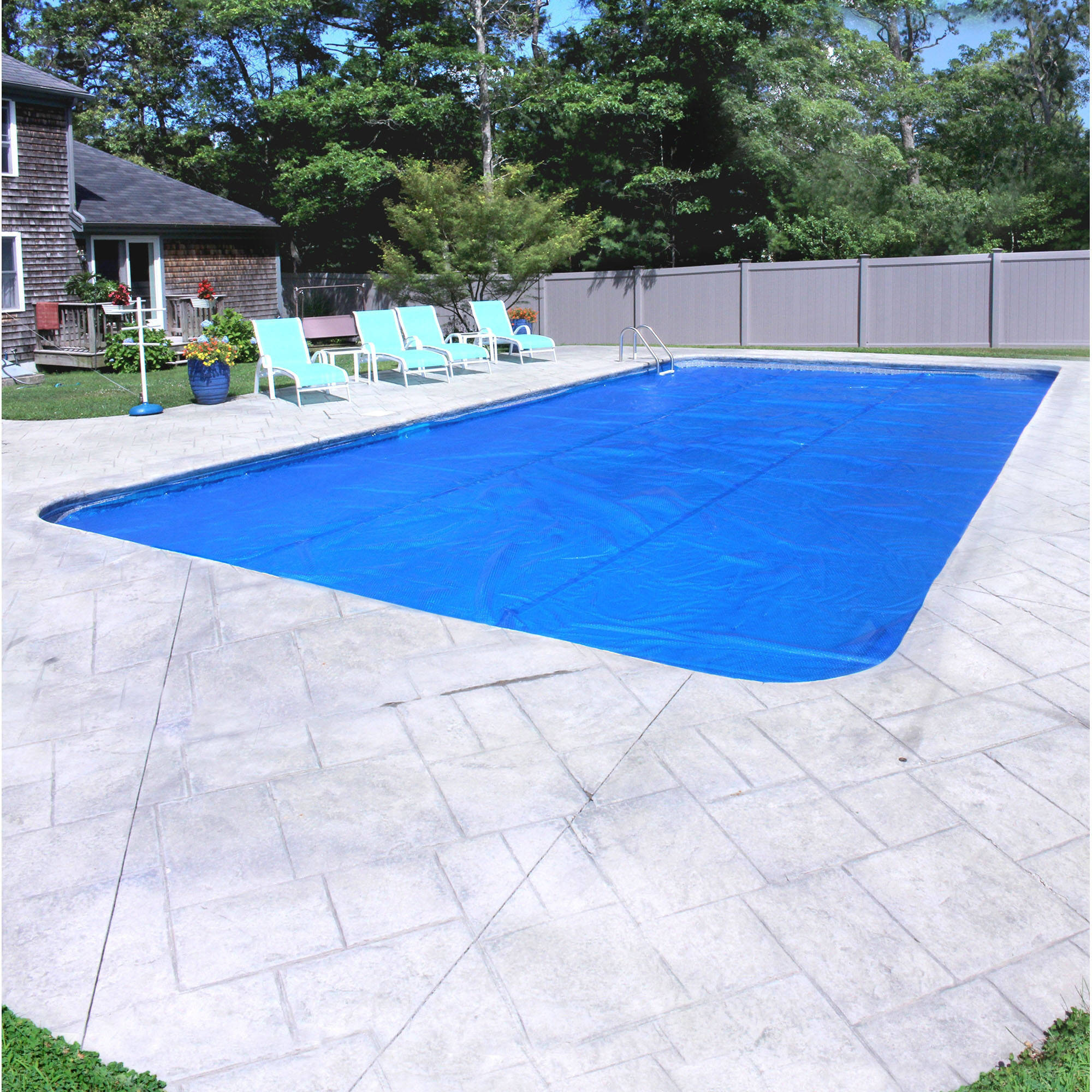 Pool Mate Deluxe 5-Year Blue/Silver Solar Blanket for In-Ground Swimming Pool