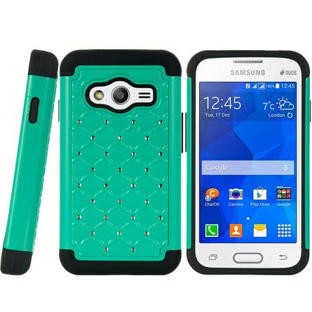 Samsung Galaxy Ace 4 Lite Hybrid Studded Diamond Case Bk Ski