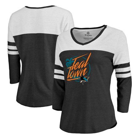 San Jose Sharks Fanatics Branded Women's Hometown Collection City of Teal Three-Quarter Sleeve T-Shirt - Black - San Jose Party City