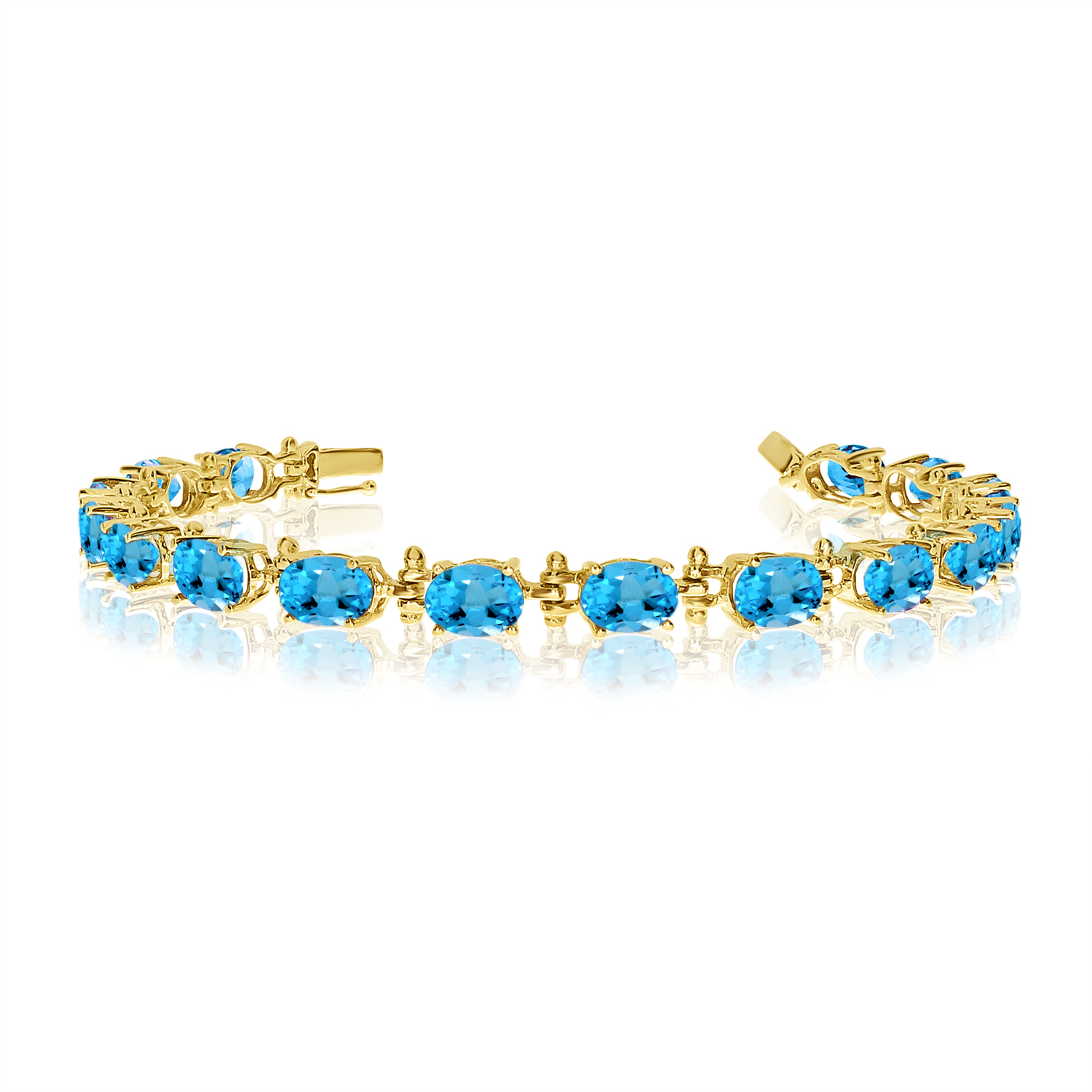 14K Yellow Gold Oval Blue Topaz Tennis Bracelet by