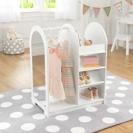 KidKraft Let's Play Dress Up Unit, White Clothes Pole Kidkraft Furniture