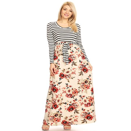 MOA COLLECTION Women's Stripe Floral Print Loose Fit Long Sleeve Bodice Waist Tie Contrast Maxi Dress