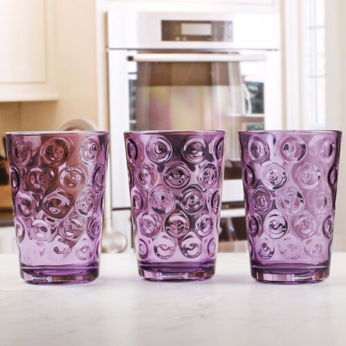 Ebern Designs Elizabeth Street Plum Circle Juice 7 oz. Glass Every Day Glass (Set of 8)