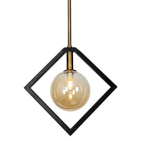 Dainolite 1 Light Pendant, Matte Black & Vintage Bronze Finish ()