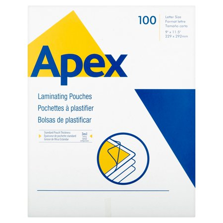Apex Standard Laminating Pouches  Letter Size For 3Mm Setting  100 Per Pack