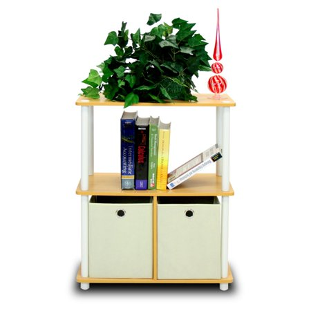 Furinno 99152 Turn-N-Tube Go Green 3-Tier Multipurpose Storage Shelving with Soft Storage Bins