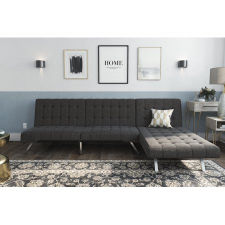 Super Dhp Emily Sectional Futon Sofa Bed With Convertible Chaise Lounger Modern Design With Sturdy Chrome Legs Grey Linen Inzonedesignstudio Interior Chair Design Inzonedesignstudiocom