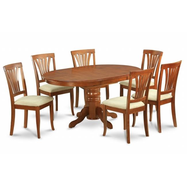 East West Furniture AVON5-SBR-C 5PC Oval Dining Set with Single Pedestal with 18 in. leaf Avon Table and 4 padded seat chairs