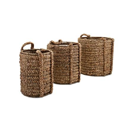 woven baskets with handle set of 3 brown. Black Bedroom Furniture Sets. Home Design Ideas