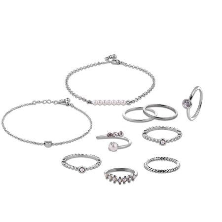 10pcs Jewelry Set Multi Shape 14/17/18/19mm Ring Unique Hand Chain Bracelet for Women Girls's Gift - image 3 of 8