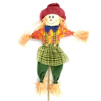 "36"" Red and Orange Scarecrow on a Stick with Hat/Shirt"