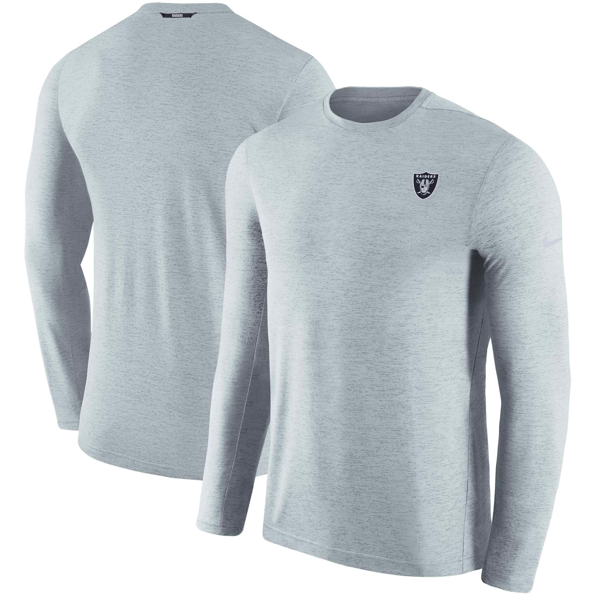 Oakland Raiders Nike Sideline Coaches Primary Logo Long Sleeve Performance T-Shirt - Gray