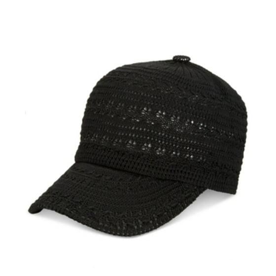 3992bb66d INC International Concepts Crochet Packable Baseball Cap Black ONE SIZE