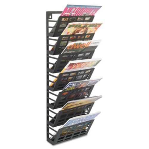 "Safco 7-pocket Grid Magazine Rack - Wall Mountable - 29.5"" Height X 9.5"" Width X 5.5"" Depth - 7 Compartment[s] - Steel - Black (4662bl)"