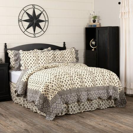 House Quilt - Creme Black Farmhouse Bedding Fleur De Lis Cotton Pre-Washed Fleur-De-Lis Queen Quilt
