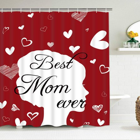 Popeven Mother's Day Shower Curtain, Best Mom Ever Shower Curtain Mom Gift Red & White Hearts Shower Curtains with 12 Hooks, Waterproof Shower Curtain for Bathroom 70
