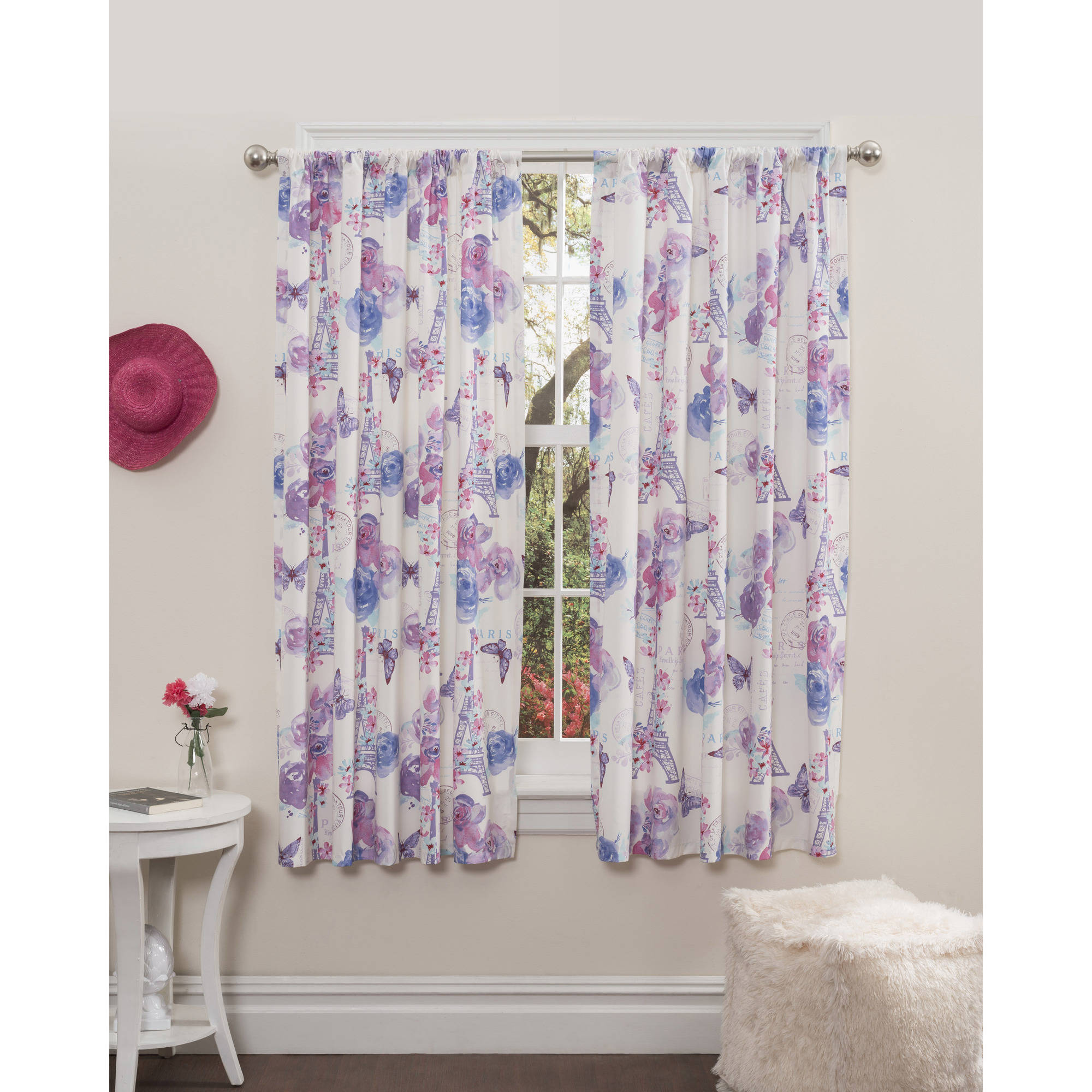 Mainstays Paris-Lavender Girls Bedroom Curtains, Set of Two