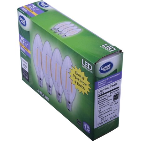 Great Value Decorative LED Light Bulb, Soft White, Dimmable, 2.5W (25W Equivalent), 4 Count - Led Lights Bulk