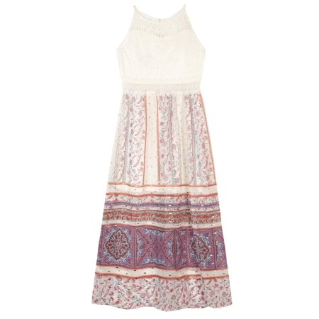 - Lace and Foil Paisley Border Print Maxi Dress (Big Girls)