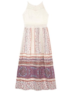 964018d3883c Product Image Lace and Foil Paisley Border Print Maxi Dress (Big Girls). AMY  BYER