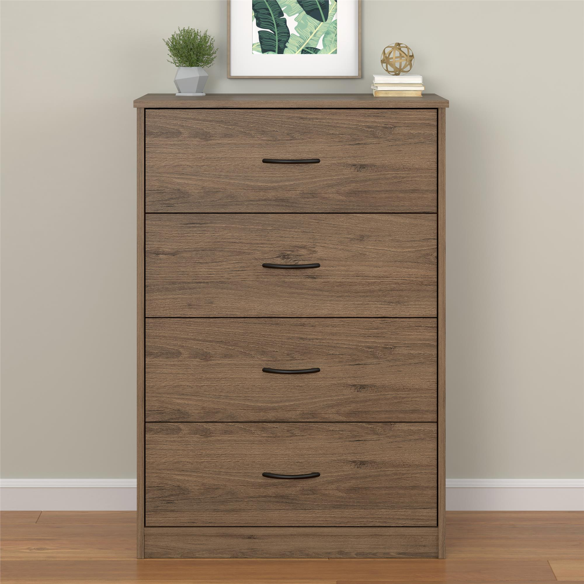 Bedroom Storage Dresser Chest 4 Drawer Modern Wood Furniture Gray Rustic Oak
