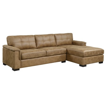 Emerald Home Abbott Saddle Brown Sectional Chofa with Faux Leather Upholstery, Padded Arms, And Stitching Detail