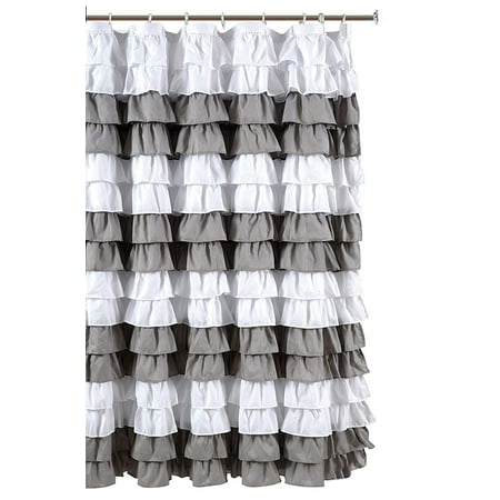 Waterfall Ruffled Nautical Stripe Fabric Shower Curtain White Silver