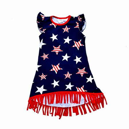 Unique Baby Girls 4th of July Patriotic Fringe Dress (1 Year/XXS)