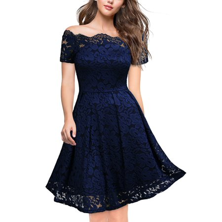 Miusol Women's Off Shoulder Lace Dress,Vintage Cocktail Party Swing Dresses (Navy Blue,L)