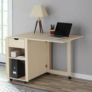 Excellent Mainstays Adjustable Rolling Office Desk With Shelves Birch Finish Download Free Architecture Designs Estepponolmadebymaigaardcom