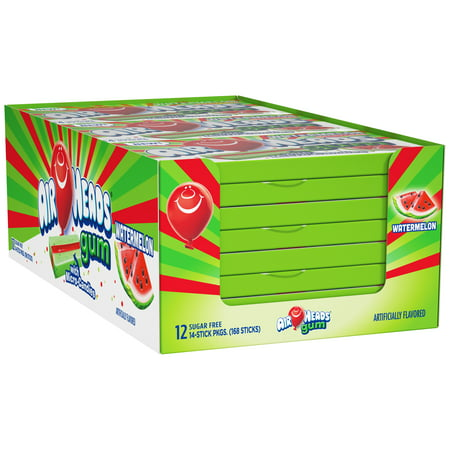 Airheads Candy Sugar-Free Chewing Gum with Xylitol, Watermelon, 14 Stick Pack, Pack of 12 Xylitol Dental Chewing Gum
