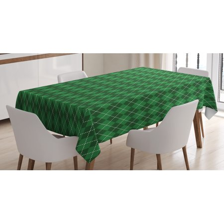 Irish Tablecloth, St. Patrick's Day Celebration Inspired Vintage Pattern Argyle Tartan Dots, Rectangular Table Cover for Dining Room Kitchen, 52 X 70 Inches, Green Dark Green White, by Ambesonne - Tartan Tablecloth