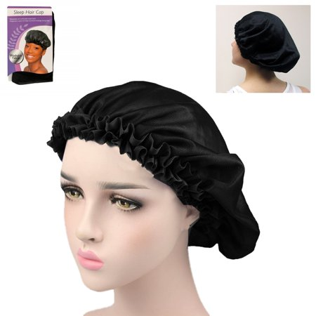 Fabric Night Sleep Cap Hair Bonnet Hat Head Cover Wide Band Adjust Elastic Women - Funny Hats With Hair