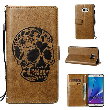 Galaxy Note 5 Case, Samsung Galaxy Note 5 Phone Case, Allytech [Embossed Skull Series] [Kickstand] PU Leather Wallet Flip Protective Case Cover with Wrist Strap for Samsung Galaxy Note 5, Coffee (Ally Coffee)