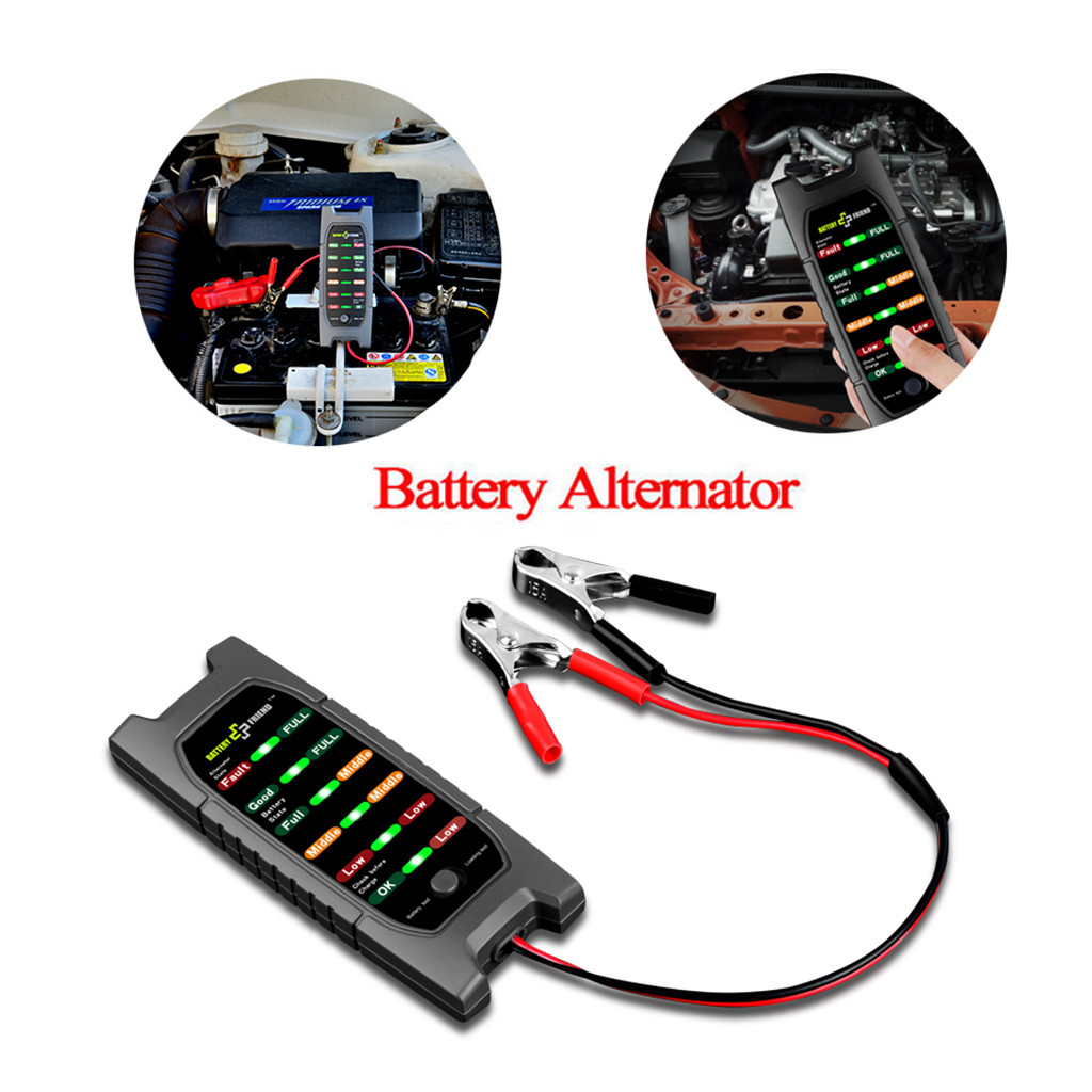 12V Car Battery Tester Alternator Check Analyzer Lead Diagnostic Tool With 6 LED