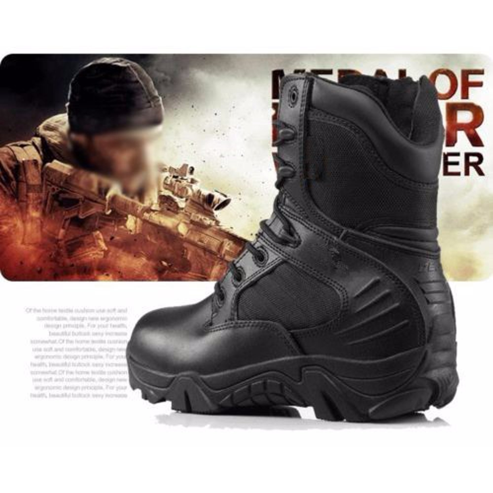8aa1eaf384a Men's Army Tactical Comfort Desert Leather Combat Boots Military ...