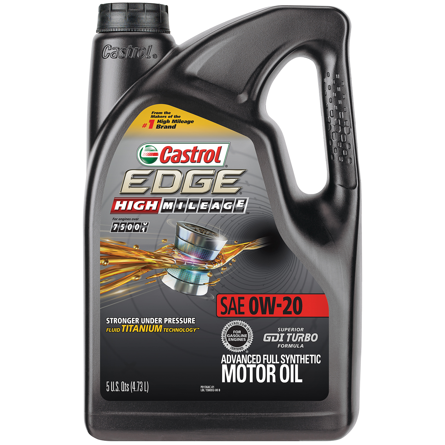 Castrol EDGE High Mileage 0W-20 Advanced Full Synthetic Motor Oil, 5 QT