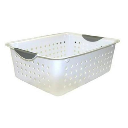12) Sterilite 16248006 Medium Ultra Plastic Storage Bin Organizer Basket - White - image 4 de 5
